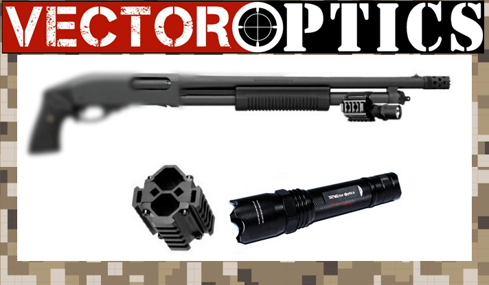 Vector Optics Tactical Barrel LED Flashlight and Tri Weaver Rail Mount Weapon Light Fit Remington Mossberg Hunting Shotgun <br>