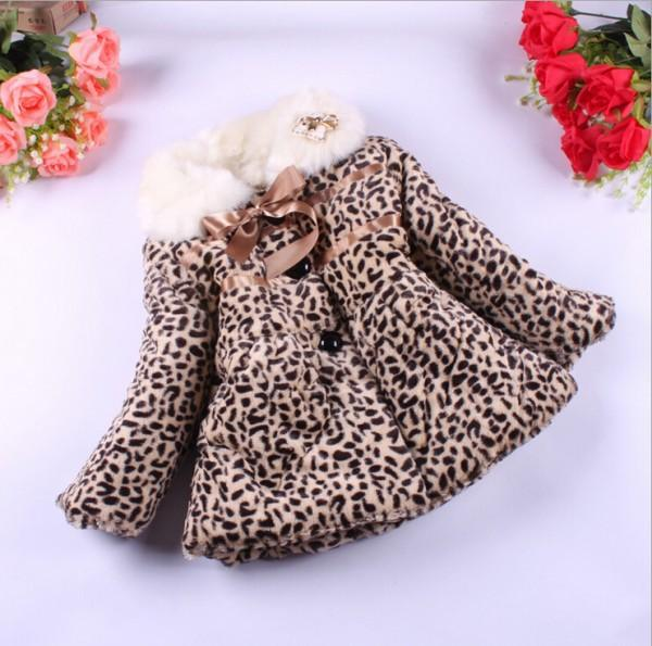 Winter Girl's Leopard Coat Children's Cotton Jacket Baby Fur Outwear Children Fashion Clothes Kids Clothing WD1136(China (Mainland))