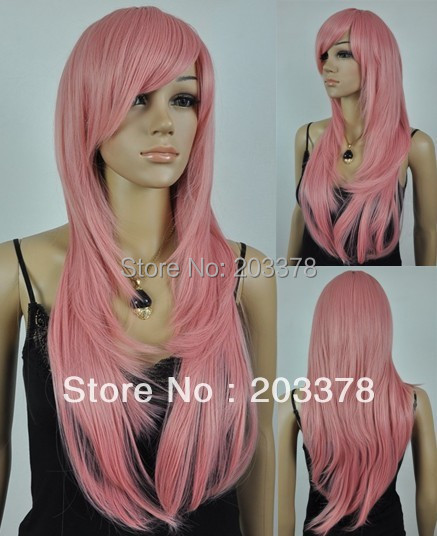 Capless High Quality Heat-resistant Long Straight Pink Wigs 10pcs/lot mix order free shipping