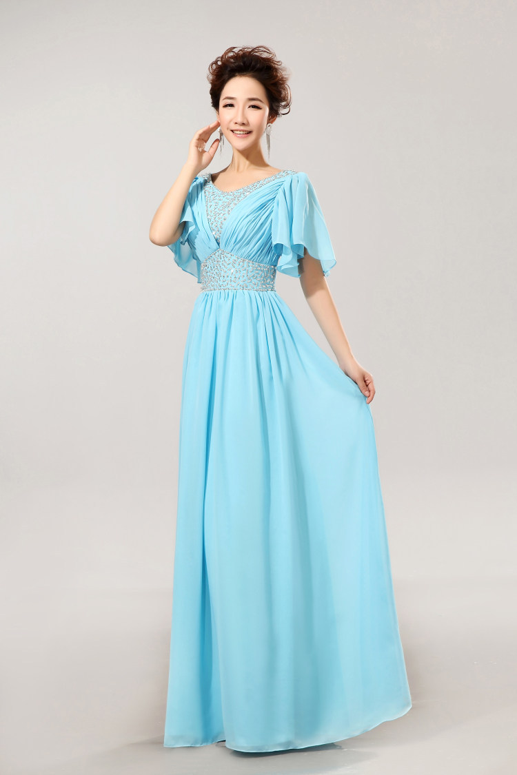 Buy modest bridesmaid dress with sleeves for Blue wedding dress with sleeves