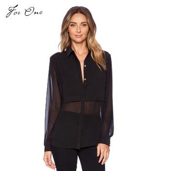 Women Shirts 2015 Fashion Lady Perspective Chiffon Stitching Women Blouses Sexy Leisure Blouse Solid Long-Sleeved Women Shirts W