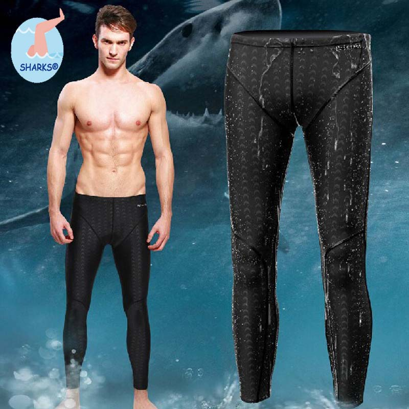 2015 High Quality Men Sharkskin Swimming Long Jammers Swiming Pants Bathing Suit For Olympic Athletes in Training(China (Mainland))