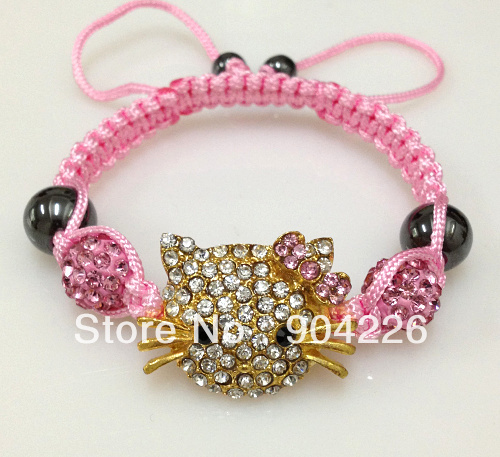 wholesale cheap Handmade Crystal Beads Baby Kids children 10 Bracelets Hello Kitty Shamballa Bracelets Bangles Charm jewelry(China (Mainland))
