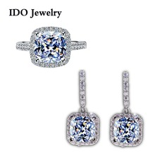 2014 New Arrival Women Wedding Jewelry Set For Women Platinum Plated Simulate Diamond Earring Ring SeT T107(China (Mainland))