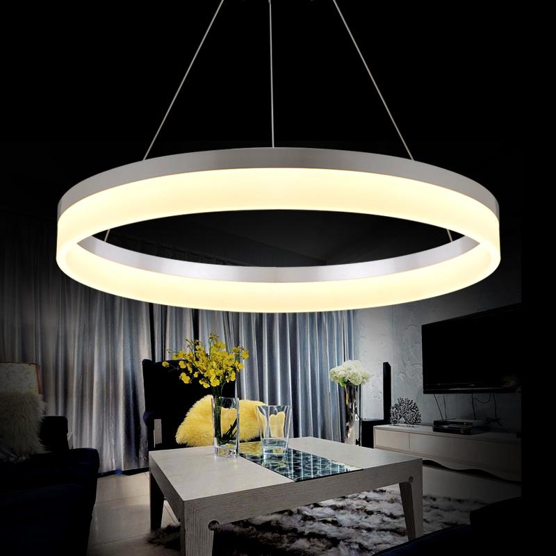Modern led ring chandelier light arcylic led chandelier for Lustre suspension moderne