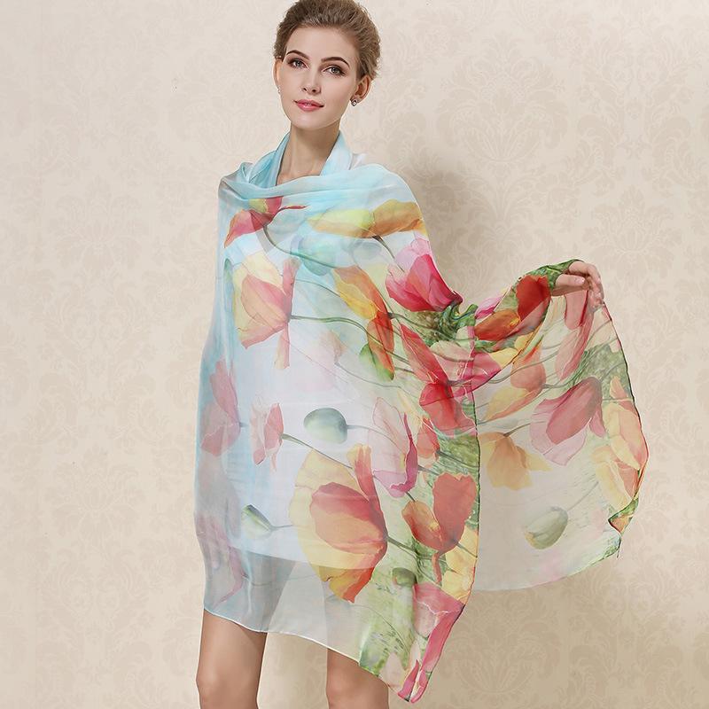 Women 2015 Long Silk Scarf 100% Genuine Silk Shawl Spring Autumn Female Silk Scarves Printed Beach Cover-ups 175*110CM(China (Mainland))