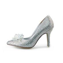 Cinderella Shoes New 2016 Women Pumps Sexy Prom Rhinestone Wedding Shoes Bridal High Heels Pointed Toe