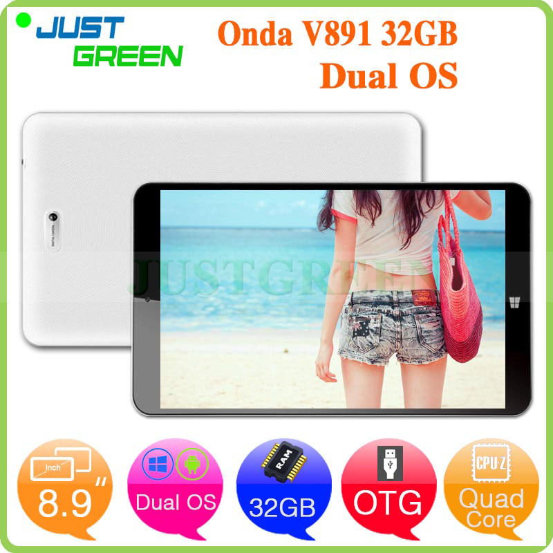 8.9 inch IPS Onda V891 Dual Boot OS Android Windows Tablet PC Z3735F 64 bit Quad Core 2GB RAM 32GB ROM HDMI OTG(China (Mainland))