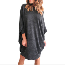 Buy Vestidos 2017 Spring Women Sexy Casual Loose Solid Dress Ladies O Neck 3/4 Batwing Sleeve Asymmetrical Hem Knee Length Dress for $10.33 in AliExpress store