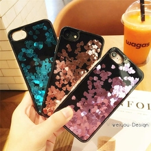Buy Luxury New Love Sequins Liquid Glitter Quicksand Phone Cases iPhone 7 7plus 6 6S 6plus 6splus Case Hard Back Cover Shell for $3.43 in AliExpress store