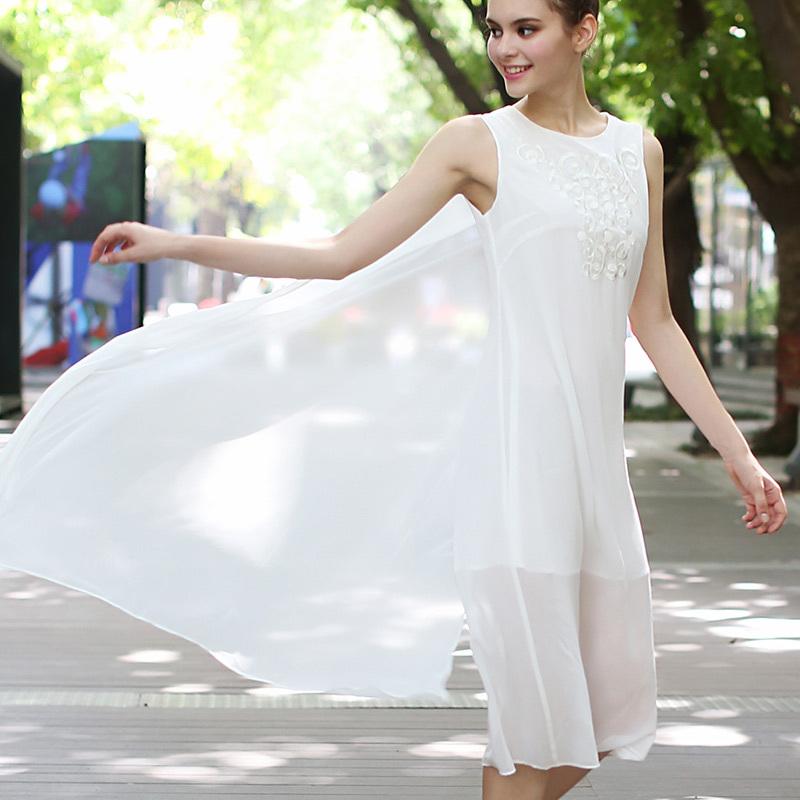 Women Chiffon Dress Ladies Elegant Embroidery See Through Sleeveless Long Dress White/Black Sundress 2015 Spring Summer Style