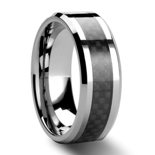 Black Carbon Fiber Tungsten Carbide Ring Mens Wedding Band Size 6 - 13 (#NR05BC)(China (Mainland))