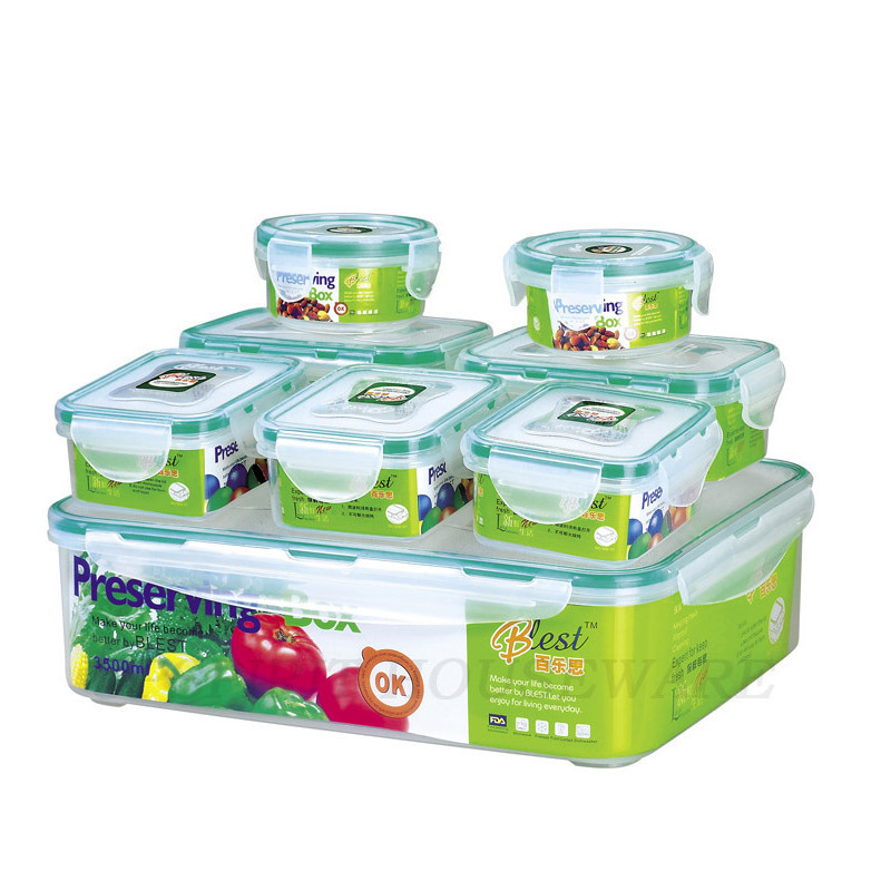 2015 New 8 pcs food grade organizer for food plastic food storage box vacuum lunch box kitchen boxes for food(China (Mainland))