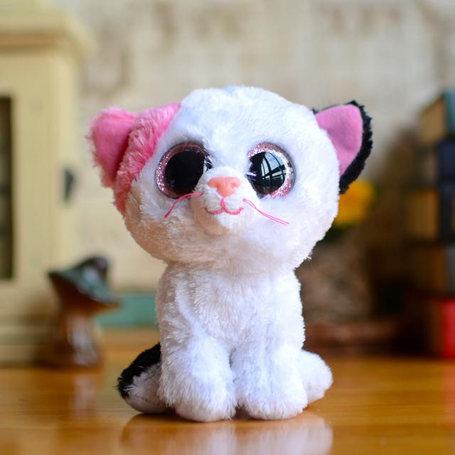Новый Ty Beanie Боос Детей Плюшевые Игрушки Большие Глаза Мягкие Булочки белый Кот Милые Девушки Подарки Kawaii Детские Мило Чучела Животных, Мальчики куклы
