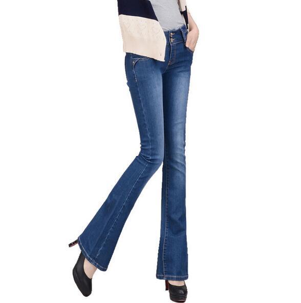 High Quality Autumn Jeans Women elastic bell-bottom female Flares pants long boot cut Denim trousers T683