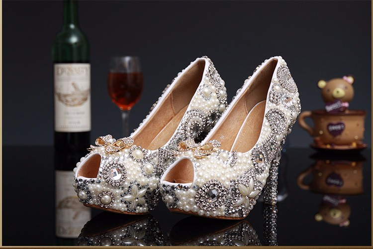 ซื้อ แฟชั่นใหม่ผู้หญิงปั๊มP Eep Toeเซ็กซี่รองเท้าส้นสูงมากรองเท้าผู้หญิงเพชรมุกปั๊มขนาดบวกพรรครองเท้าแต่งงาน12เซนติเมตร