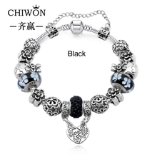 European Silver Plated Charm Full Black Glass Love Crystal Beads Fit Women Pandora Bracelets & Bangles DIY Jewelry(China (Mainland))