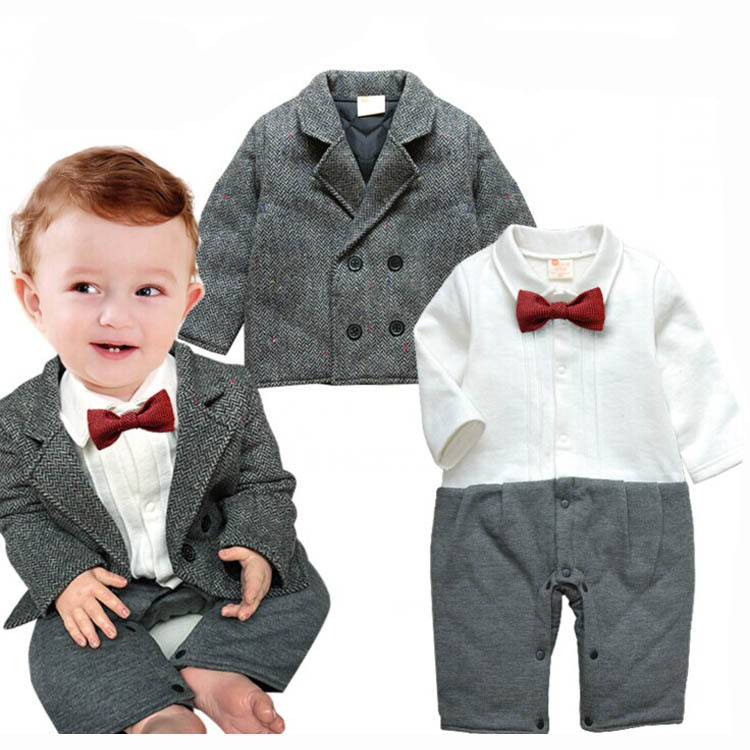 3PCS/2015 new Winter newborn baby clothes cheap Long-sleeved Romper+coat Gentleman Jacket brand baby boys clothing sets BC1192(China (Mainland))