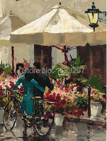 Flower Market Street,oil painting of Brent Heighton,High quality,canvas Reproduction ,Hand-painted,Romantic Art,Paris Landscape(China (Mainland))
