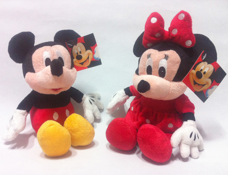 2pcs/set 28- 30cm Mickey Mouse And Minnie Mouse Toys Soft Toy Stuffed Animals Plush Toy dolls(China (Mainland))