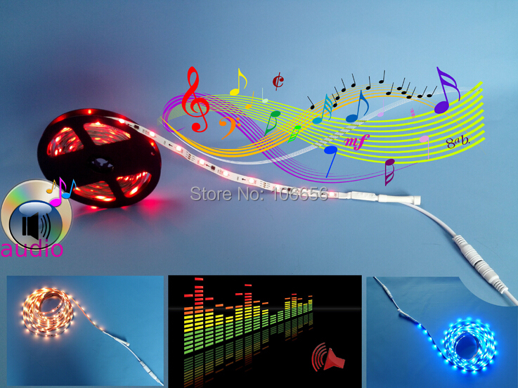 DC 12v WS2811S intelligent audio Music led strip light full color rgb no need music controller directly to dc12v power supply(China (Mainland))