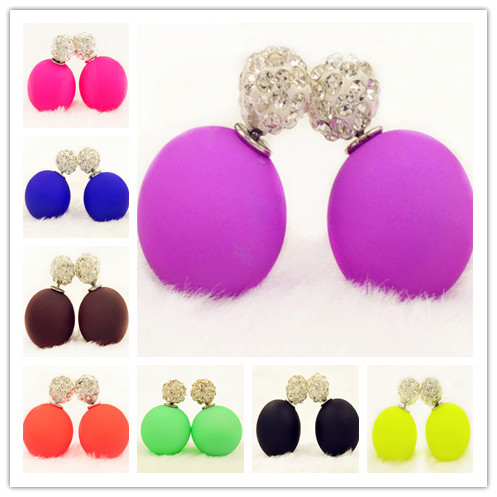 New Fashion jewelry double side full rhinestone 16MM pearl Frosted matte stud earring gift for women girl mix color E2656(China (Mainland))