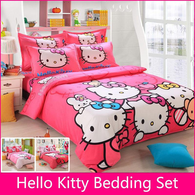 Bedding Set Children Cotton Bed sheets Hello Kitty Duvet Cover Sheet Pillowcase King/Queen/Twin 4Pcs BS35(China (Mainland))