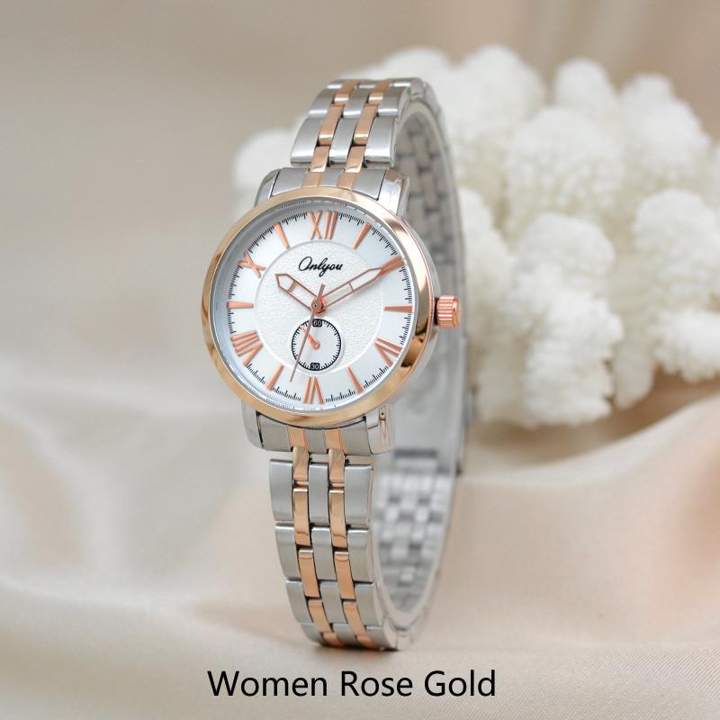 Onlyou Brand Fashion Watch Women Men Business Quartz Watch Steel Watchband Wristwatches Relogio Feminino Lady Dress Watch 81031