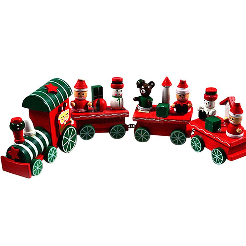 2016 Hot New Lovely Charming 4 Piece little train Wood Christmas Train Ornament Decoration Decor Gift(China (Mainland))