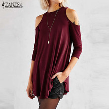 Buy ZANZEA Women 2017 Sexy Blusas Casual Loose O Neck Half Sleeve Long Blouses Tops Irregular Shoulder Solid Shirts Plus Size for $7.46 in AliExpress store
