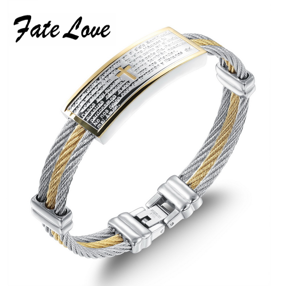 Classic Fate Love Brand Cross Bracelet Rope Chain Stainless Steel 3 Layers Cuff Silver &amp; Gold Bangles Leather  FL759 <br><br>Aliexpress