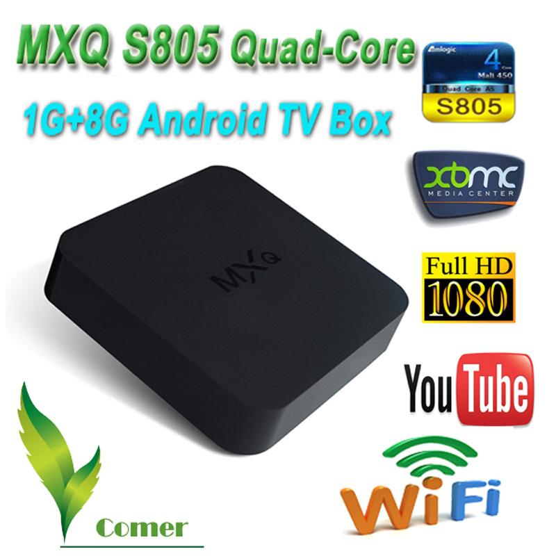 New arrival MXQ Android TV Box Amlogic S805 Quad Core Smart TV 1G/8G WiFi Ethernet H.265 1080P XBMC Media Player Mini PC TV Box(China (Mainland))