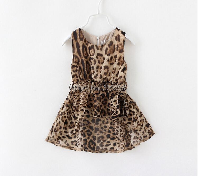 Super Deal 2014 new summer children princess dress, high quality baby girls lepoard dress, hot sale kids dress for girl, 2-8Y(China (Mainland))