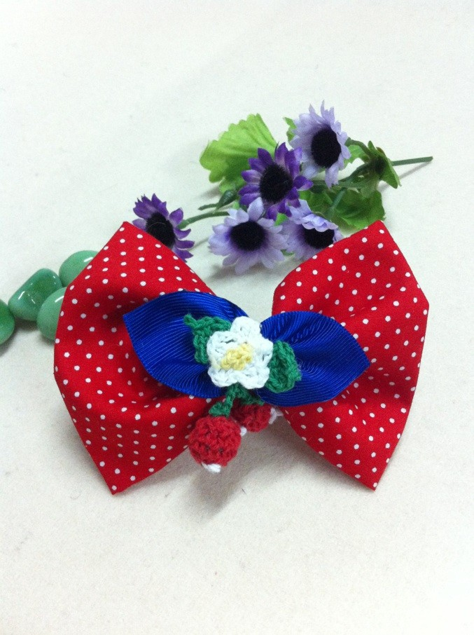 Child hair accessory strawberry bow cute side-knotted clip