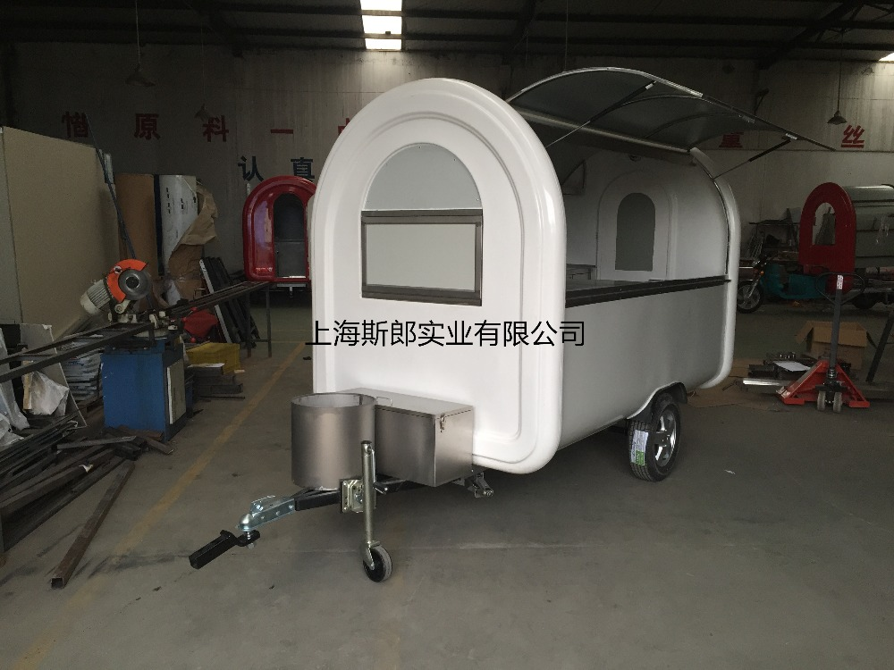 7.6*5.5ft white food cart trailer mobile food cart mobile food trucks food cart(China (Mainland))
