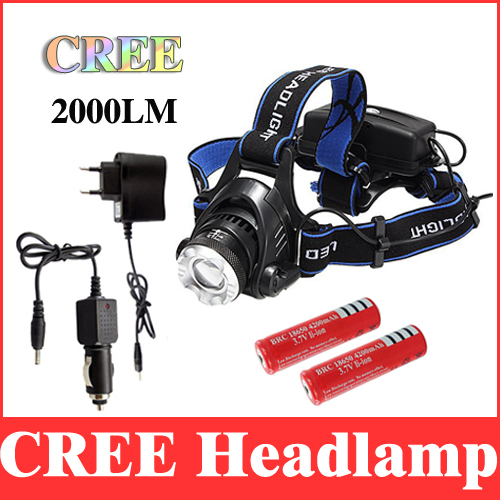 2000 lumens headlamp xm-l t6 cree led head lamp lantern zoomable high power headlight to camp + charger + 2*18650 battery DF05<br><br>Aliexpress