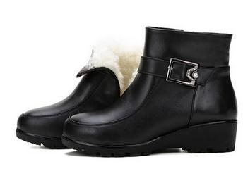 43 42 41 35 36 In Season Hot Sale Autumn Boots women Wool Genuine Leather Boots wedges Mother cotton-padded shoes plus size 12 5