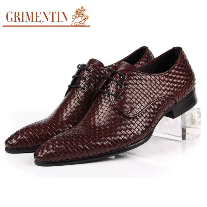 GRIMENTIN fashion woven mens business shoes genuine leather comfortable pointed toe formal men shoes flats for wedding work z427(China (Mainland))