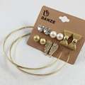 6 Pairs Fashion Gold Plated Crystal Stud Earrings Pack Set For Women Girls Bow Angle Wings