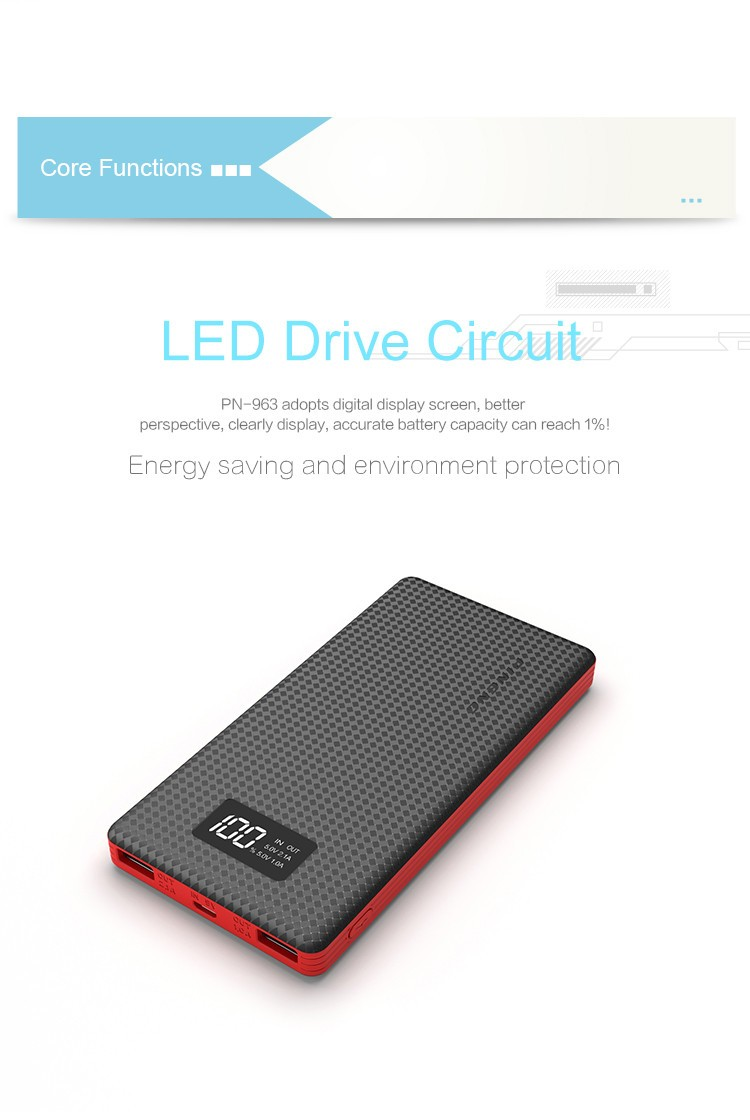 PINENG PN-963 Portable 10000mAh Dual USB Mobile Power Bank Backup External Battery Charger LED Indicator for IOS Android Phone