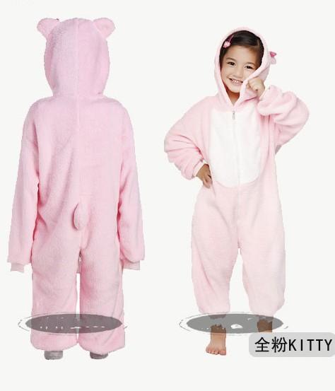 Coral fleece family fashion child cartoon kitty animal one piece sleepwear female winter(China (Mainland))