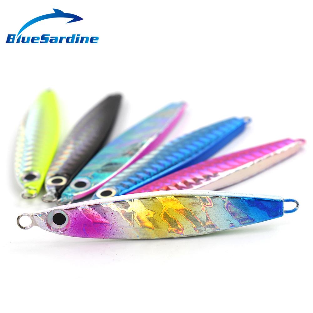 22G 7.5CM Jigging Lure Lead fish Metal Jig Fishing Paillette Knife Wobbler Artificial Hard Bait Laser Body - BlueSardine Outdoor store