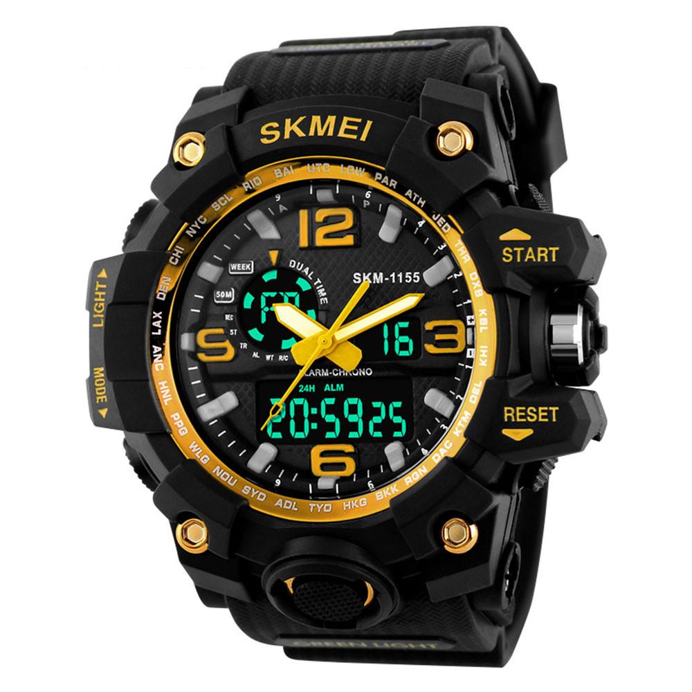 Skmei Водонепроницаемый Дата Мужская мода Спортивные Часы Многофункциональный будильник Противоударный Ночь Свет