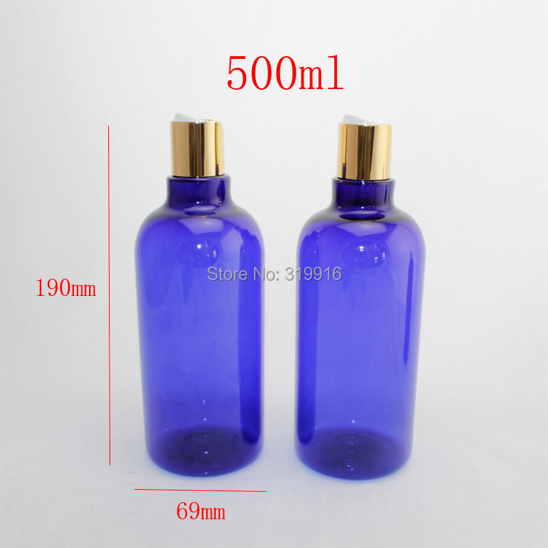 500ml x 12  blue color round empty plastic shampoo  bottle with gold disc top cap ,17 oz PET refillable body cream bottle<br><br>Aliexpress