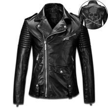 designer 2016 men autumn winter fashion black human skeleton skull diamond black motorcycle leather biker bomb jacket 8132(China (Mainland))