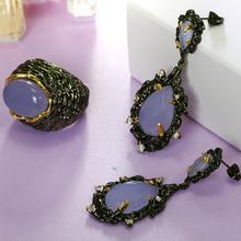 2 ШТ. Ювелирные наборы Большой Фиолетовый Кристалл Камень Длинные серьги люстра с кольцом В Черный цвет Золота Большие Серьги/кольцо устанавливает(China (Mainland))