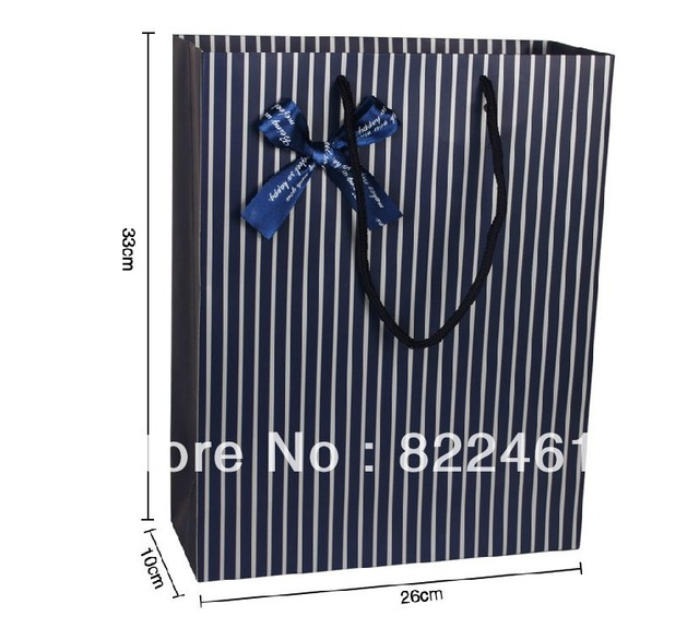 Han edition exquisite gift bag blue stripes gift bag in the vertical version of the tether paper bags wholesale, trumpet