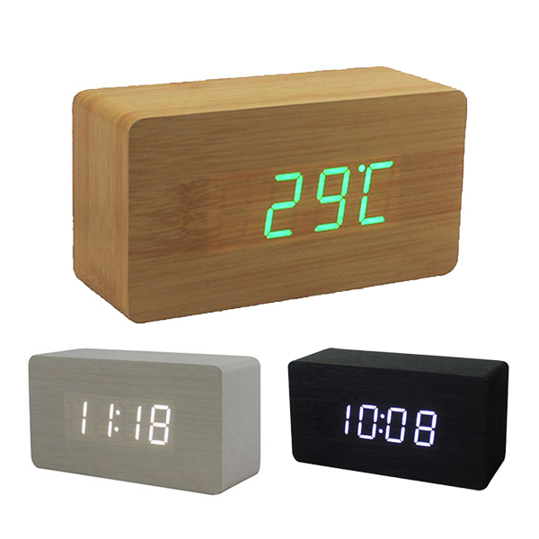 Wood Office Desk Wooden Digital Alarm Clock J2Y(China (Mainland))