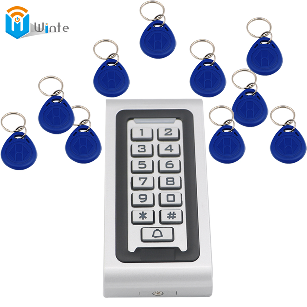 Access Control Kit Waterproof 1pcs RFID Card Reader + 10pcs fob keys Access Controller Reader Keypad With Metal Case Winte(China (Mainland))