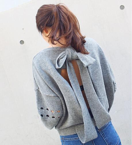 2015 2014-корейски осень и зима женщины мода пуловер свитер сладкий широкий спинки ...